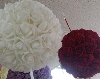 White Wedding Flower Balls, Flower Girl kissing Ball, 2 Roses Kissing Ball Pomander Wedding Ceremony Decorations, Pink Roses Kissing Balls