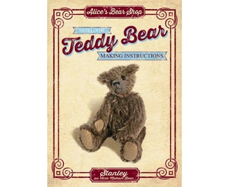 Teddy Bear Pattern and Instructions Booklet - Stanley 18cm when made