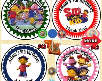 Sid The Science Kid Birthday Stickers/Labels Round & Address Labels  Nugget Stickers 1 Sheet Personalied