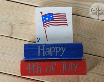 Fourth of July Stacking Blocks - Red White and Blue - Patriotic Decor