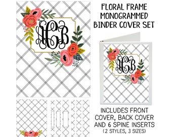 Floral Frame Personalized Printable Binder Cover Set - Front & Back Covers and Spine inserts - Dress up Your Three Ring Binder!