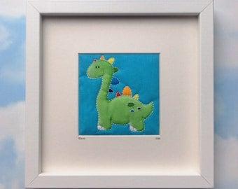 Rainbow personalised dinosaur, personalised new baby gift, personalised nursery art, nursery dinosaur, nursery art, nursery decor