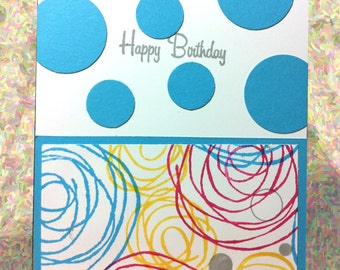 Happy Birthday, HBD2U, Birthday Wishes, For Him, For Her, Abstract Scribbles, Sketched Flowers, Abstract Flowers, Single Card, Polka Dots