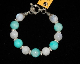Reiki Infused/Charged Amazonite  and Moonstone Bracelet with Sterling Silver