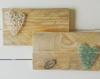 Handmade photoframe with little heart made with string art