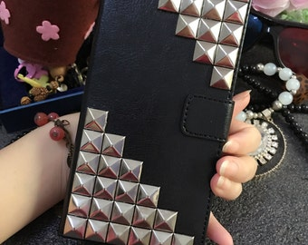 Silver Punk Rivet Studs Spikes Studded Slot Cards Holder Flip Black Wallet Leather Bling Luxury Fashion Glossy Unique Case for Mobile Phone