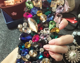 Bling Colorized Luxury Lovely Fashion Sparkles Charms Glossy Jewelled Crystals Rhinestones Diamonds Gems Hard Cover Case for Mobile Phone