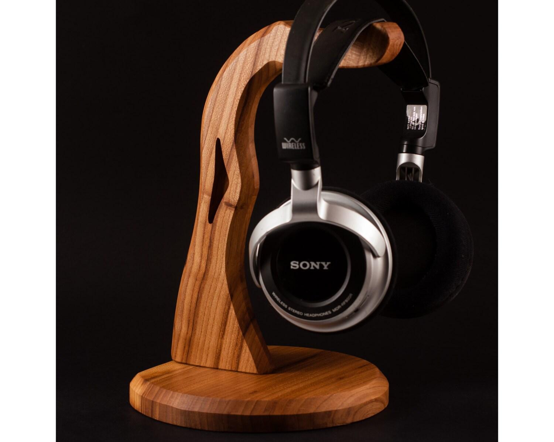 Wood headphone stand holder handmade tech gift - Wooden headphone holder ...