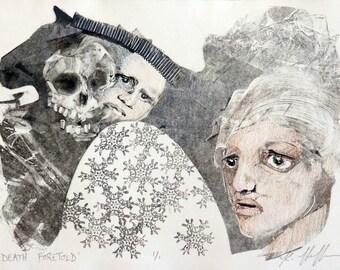 Skull art, whimsical art, original art, monotype, monoprint, Memento mori, contemporary art, one of a kind art, black and white art, print