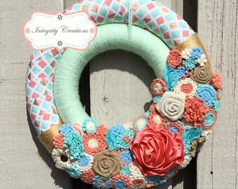Spring Wreath - Summer Wreath - Double Wreath - Yarn Wrapped Wreath - Spring Decor - Summer Decor - Everyday Wreath - Easter Wreath