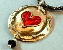 Melt my heart Valentine Baby pendant on seed bead necklace. S/silver bronze, brass,  black crystal, s/silver findings