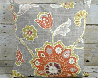 18x18 Gray and Orange Floral Pillow
