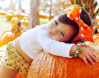 DOTTIE ORANGE Gorgeous Wrap- headwrap; fabric head wrap; polka dot head wrap; newborn headband; baby headband; toddler headband; headwrap