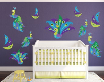 Peacock Wall Stickers // Peacock Feather Wall Décor // Peacock Feather  Decorations // Part 17
