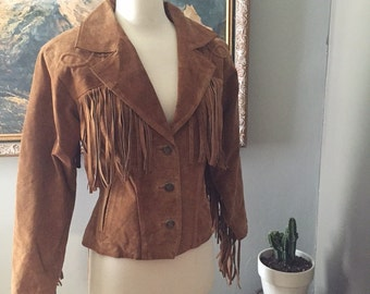 Vintage western brown leather fringe jacket/Boho/Size Small