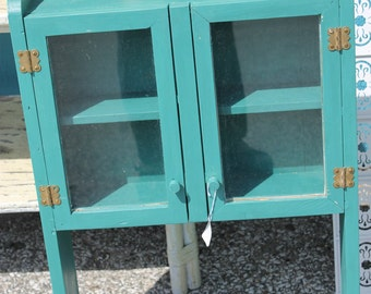 SOLD!!! Blue wood and glass hanging cupboard