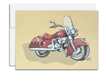 Indian Motorcycle Card, Father's Day Card, Card for him, Blank Inside All Occasion Card