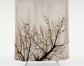 extra brown and red shower curtain. Tree shower curtain  brown beige tree branch red birds art tan black bathroom decor