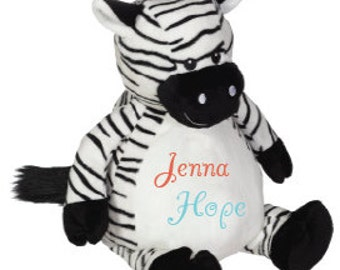 Monogrammed Stuffed Animal Monogrammed Stuffed Zebra Monogrammed Zebra Stuffed Animals For Babies Birth Announcement Stuffed Animal
