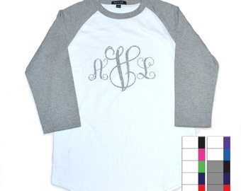 Large Front Monogram 3/4 Raglan Shirt - Tees2urdoor 19.95
