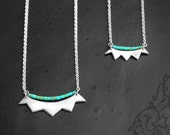 Silver Tribal Crown Necklace, Silver Crown and Turquoise Heishi Beads
