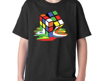 Melting Rubik's Cube:As Seen On Bang Theory Youth T-shirt All Sizes (8015)