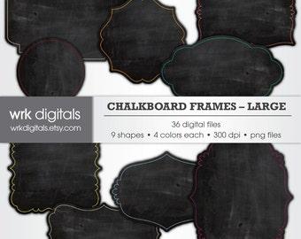 Chalkboard Frame Clip Art Digital Pack, Digital Scrapbooking, Instant Download