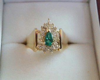 Diamond and Emerald Vintage Ring, Estate Ring