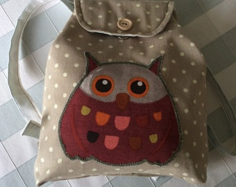 Childs Owl Backpack. Childrens Backpack with magnetic fastenings.