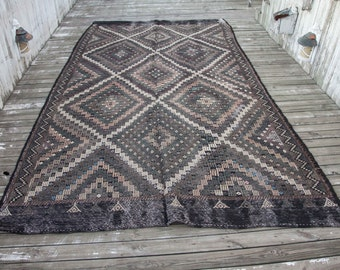 "Vintage TURKISH Cicim KILIM Flatweave Earth Tone Colors 11'9""x6'8""/358x202 cm FREE Shipping Item No. C-22"