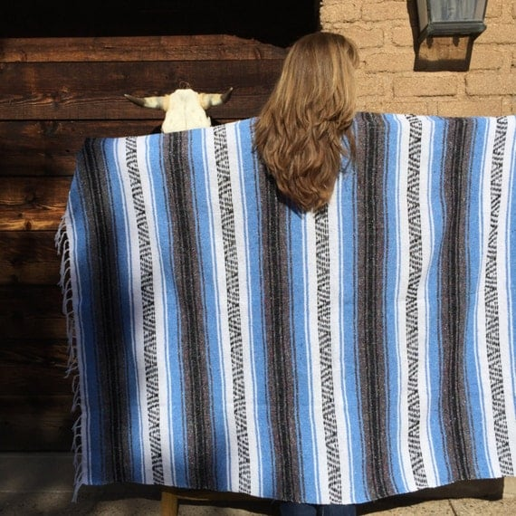 Mexican Blanket Baby Blue Stripes Beach Blanket By