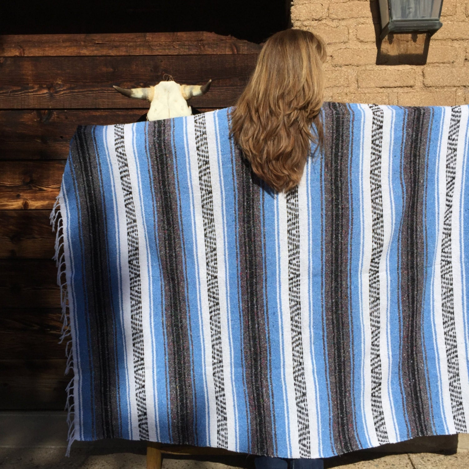 Mexican Beach Blanket: Mexican Blanket Baby Blue Stripes Beach Blanket By