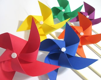 Paper Pinwheels DIY Kit Pinwheel Paper Party Favors Kit Primary Color Favors Spinning Pinwheels Party Decoration Table Centerpiece Kit