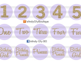 Lavender and Gold Birthday Girl Bottle Cap Images