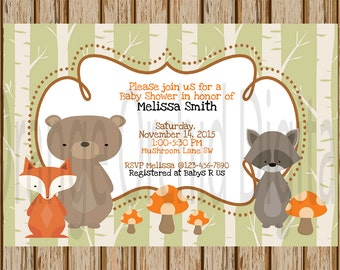 NEUTRAL WOODLAND BABY Shower Invitations- Neutral Baby Shower Invites- Forest Baby Shower-Woodland Critters - 4X 6 Image- Digital