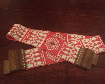 Seed Bead Stretch Belt; Decorative Wooden and Beaded Belt, Woman Belt, Handmade Beaded Belt; Red White Belt; Stretch Belt; Folk Belt