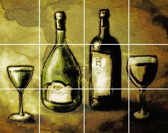 Tuscan Wine Glass Tile Mural Painting Back Splash Kitchen Home Decor