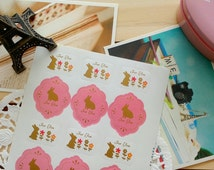 "Cute BUNNY RABBIT"" For You ""Gift  Seal Stickers/24 Stickers/2 Sheets"