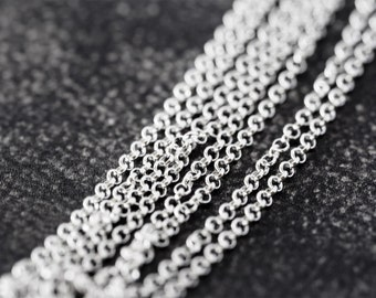 2151_Thin 925 sterling silver chain 1.5mm, Belcher chain, Rolo silver chain, Anchor chain 925 Italy silver chain Chain for jewelry making_1m