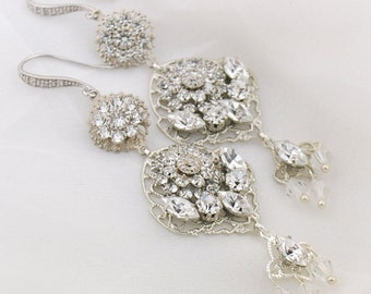 Couture wedding earrings - statement bridal earrings - crystal chandelier earrings - delicate wedding earrings - Pnina earrings