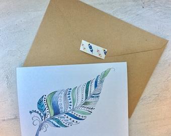5x6.5  Blank tribal watercolor feather card print, boho card, tribal card, boho artwork