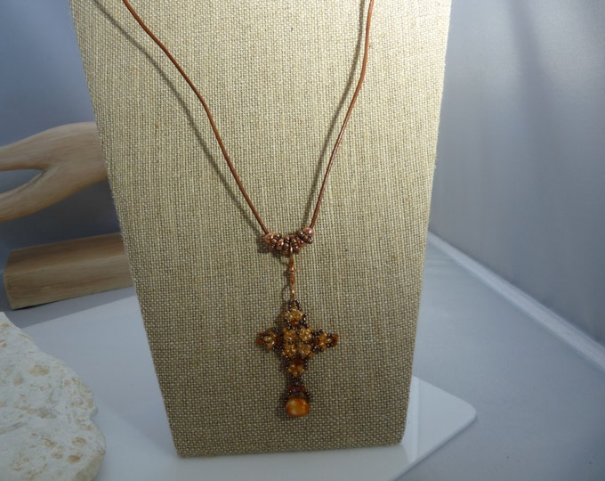 Vibrant beaded Cross/leather Necklace
