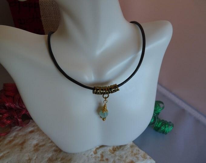 Blue quartz leather choker necklace