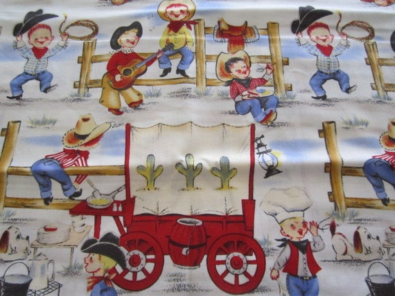 Michael miller 39 s lil cowpoke fabric retro cowboy fabric for Train themed fabric
