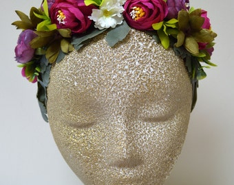Bridal Woodland Flower Crown. Wedding Hair Crown. Bridal Flower Wreath. Bohemian Flower Crown.  Flower Wreath. Multi-Color Hair Accessory.