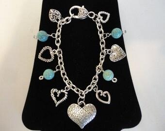 Silver Heart Charm Bracelet w/Beads