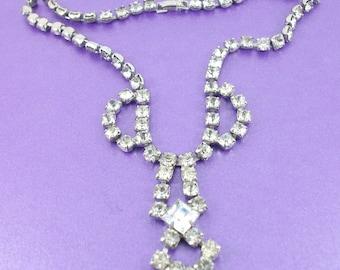 Vintage Rhinestone Necklace, Pendant Necklace, Vintage Pendant, Box Clasp, Vintage Gift