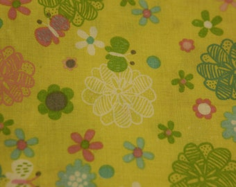 Flowers In The Sun -Quilting 100%Cotton-Yellow Back Ground/ Flowers