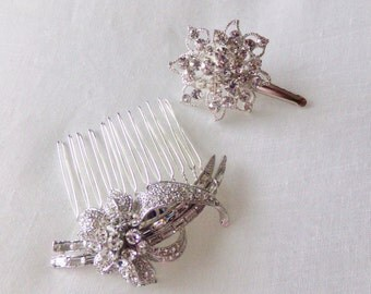 Hair comb,  and clip, bridal rhinestone hair comb, bridal hair accessory, silver tone.