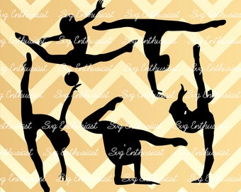 5 Gymnasts SVG cut files, Gymnastic SVG files, Gymnasts Silhouette, Cricut, Dxf, PNG, Vinyl, Eps, Cut Files, Clip Art, Vector, Silhouette